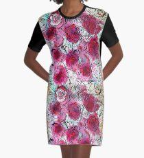 Burgundy Roses Graphic T-Shirt Dress