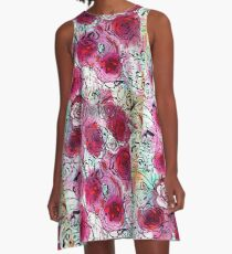 Burgundy Roses A-Line Dress