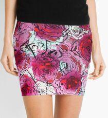 Burgundy Roses Mini Skirt
