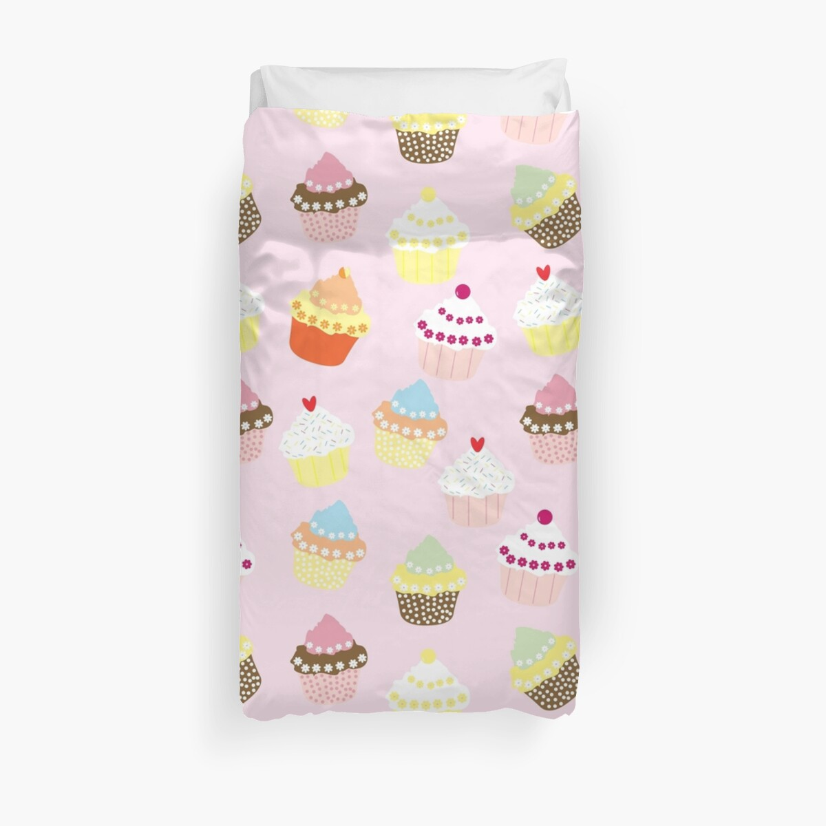 Cute Cupcakes with Sprinkles on Pink Background by critterville