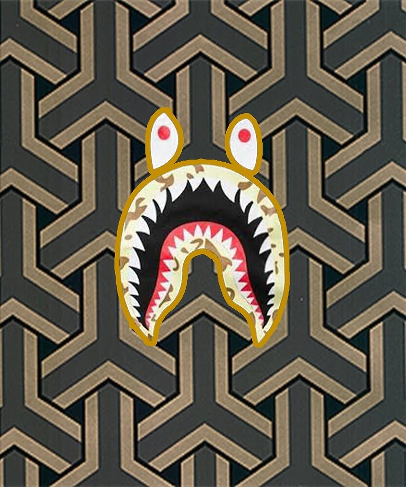 Shark Patern Black Bape by Youngmary