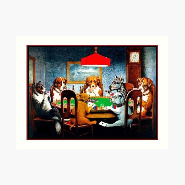 DOGS PLAYING POKER : Vintage C M Coolidge Print Art Print