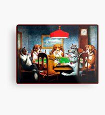 DOGS PLAYING POKER : Vintage C M Coolidge Print Metal Print