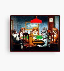 DOGS PLAYING POKER : Vintage C M Coolidge Print Canvas Print