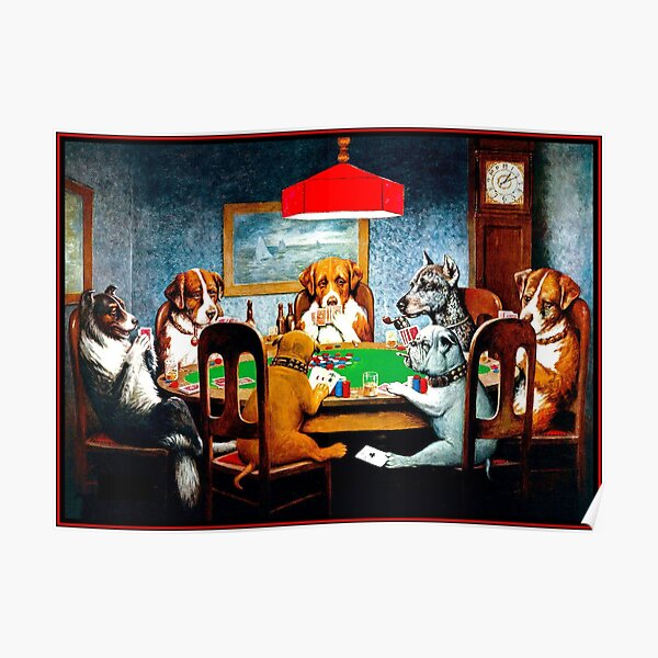 DOGS PLAYING POKER : Vintage C M Coolidge Print Poster