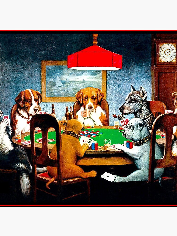 DOGS PLAYING POKER : Vintage C M Coolidge Print by posterbobs