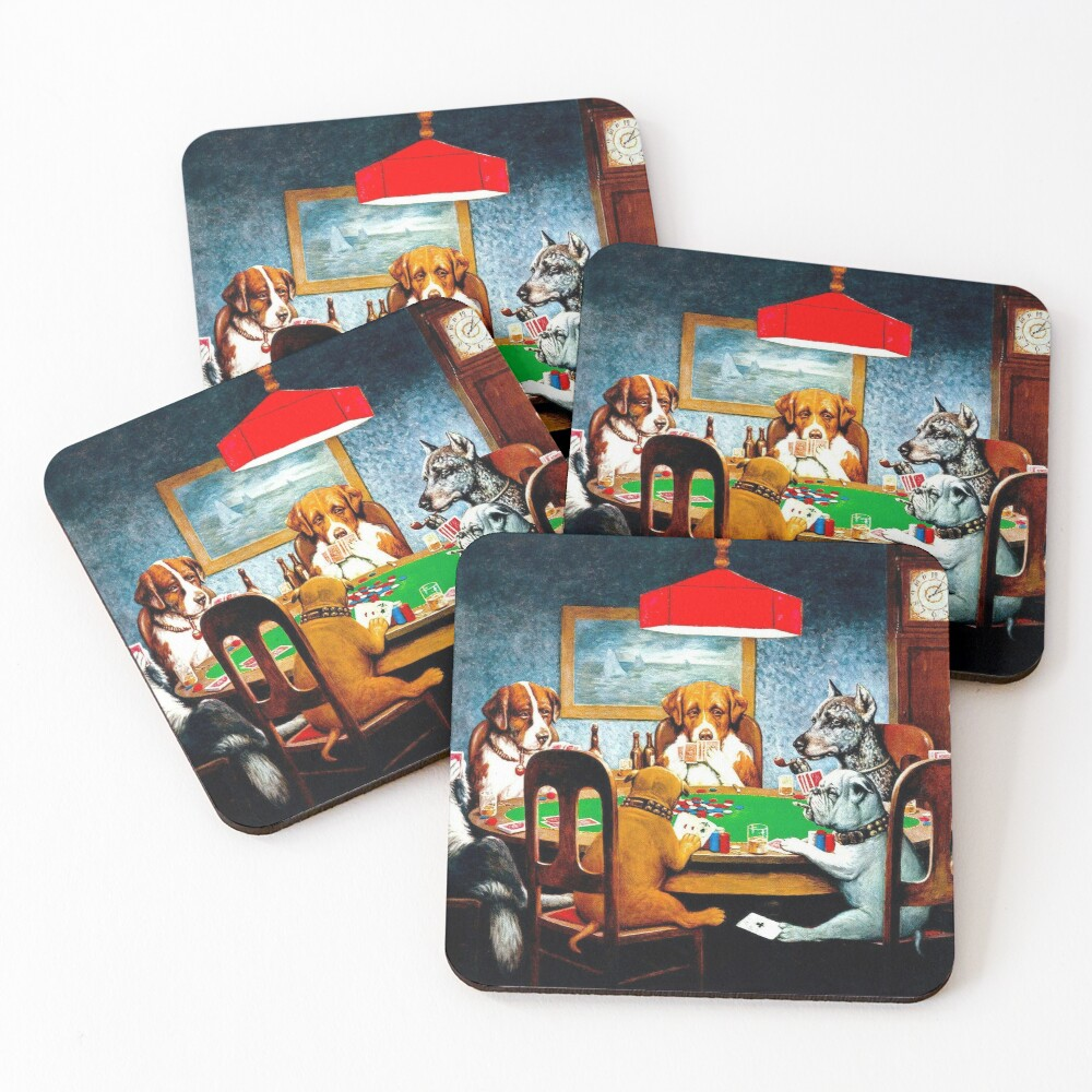 DOGS PLAYING POKER : Vintage C M Coolidge Print Coasters (Set of 4)