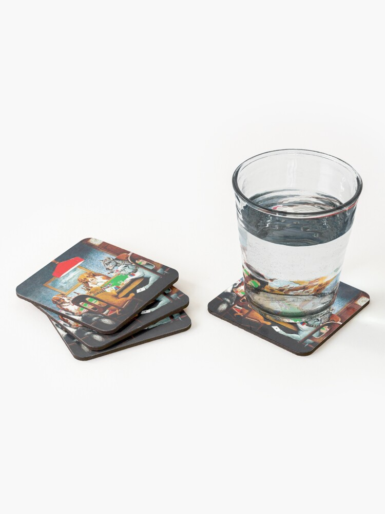 Alternate view of DOGS PLAYING POKER : Vintage C M Coolidge Print Coasters (Set of 4)
