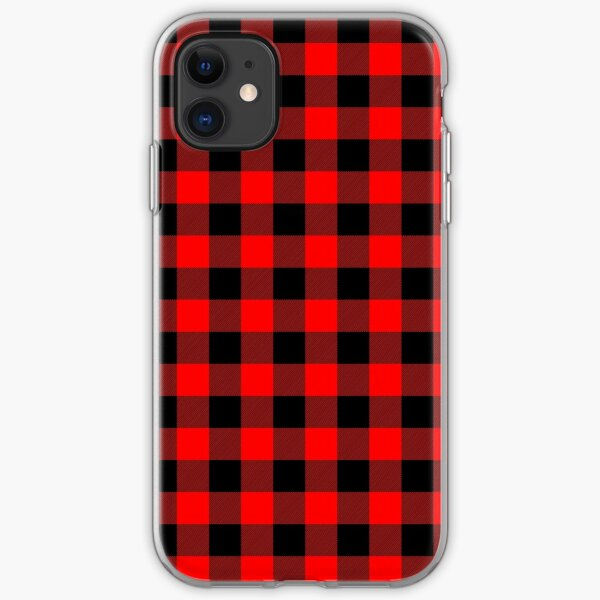 Classic Dark Red and Black Lumberjack Buffalo Plaid Fabric iPhone Soft Case