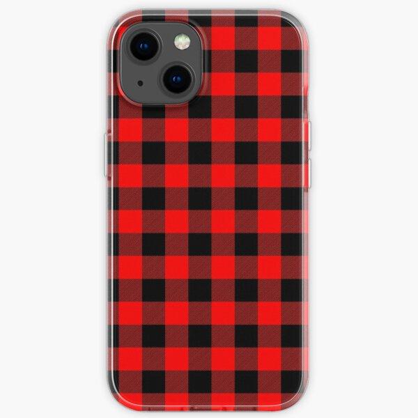 Classic Dark Red and Black Lumberjack Buffalo Plaid Fabric iPhone Soft Case