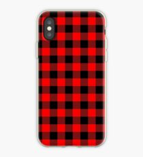 Classic Dark Red and Black Lumberjack Buffalo Plaid Fabric iPhone Case