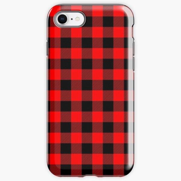 Classic Dark Red and Black Lumberjack Buffalo Plaid Fabric iPhone Tough Case