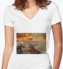 Jhope Crying Meme Women's Fitted V-Neck T-Shirt