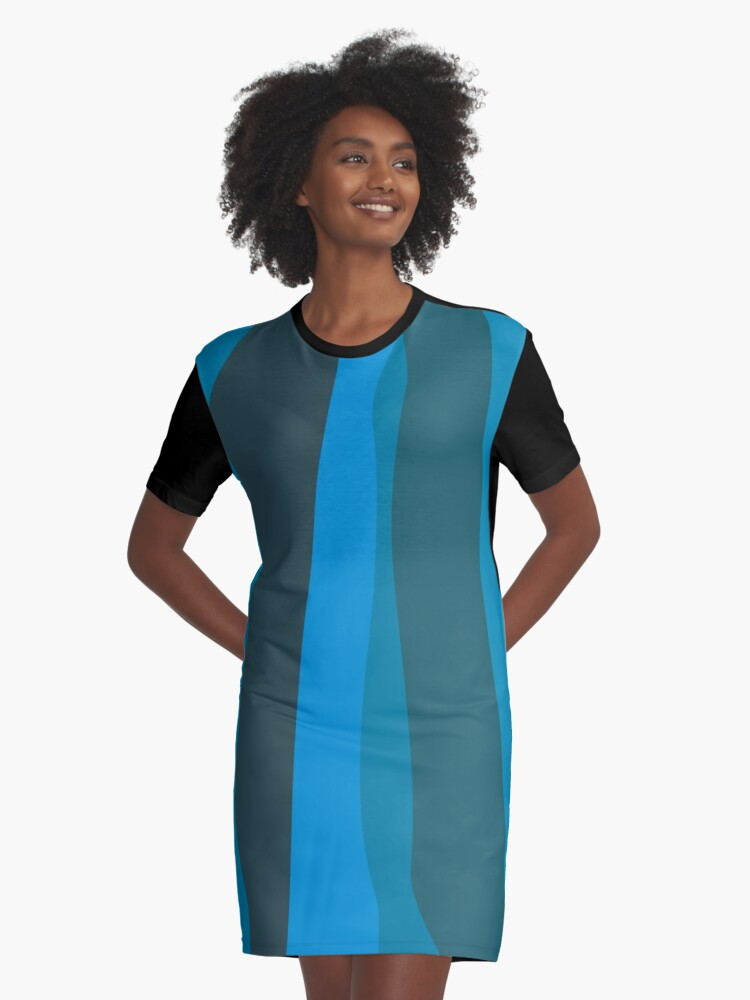 Blue Abstract Art Graphic T-Shirt Dress Front