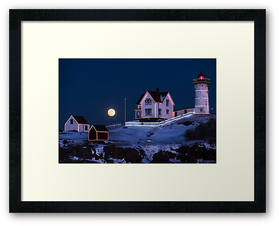 Nubble Lighthouse 2018 New Year Supermoon Cape Neddick by WayneOxfordPh