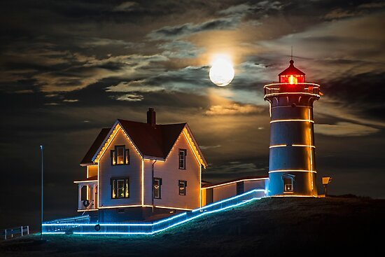 The supermoon rising over the Nubble Lighthouse York Maine by WayneOxfordPh