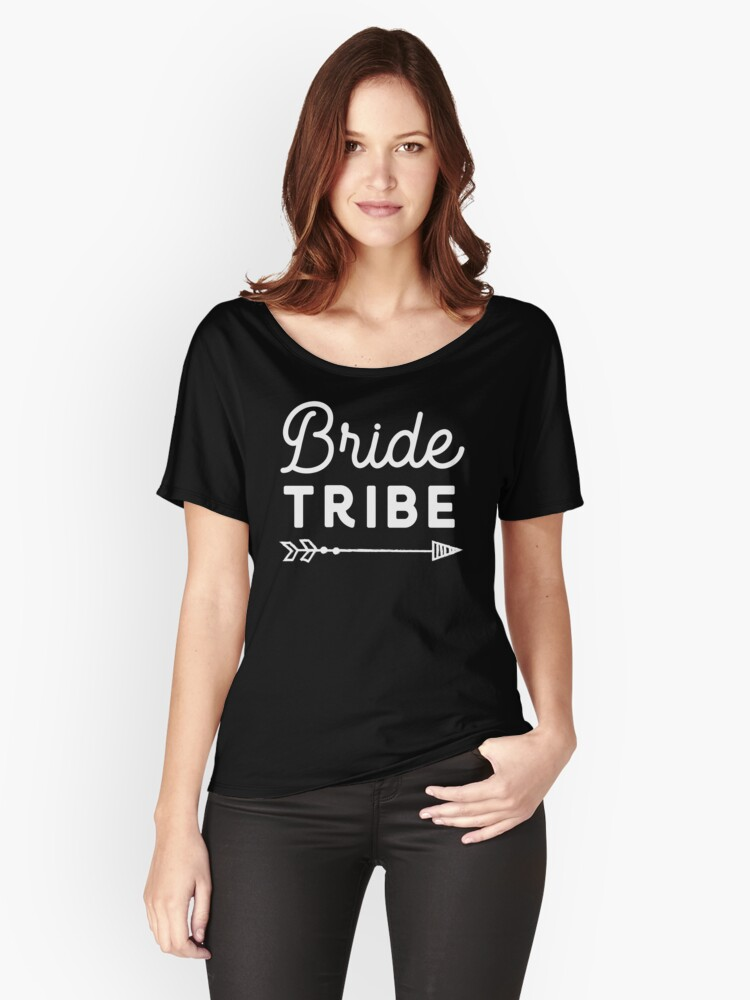 Bride Tribe White on Black Women's Relaxed Fit T-Shirt Front