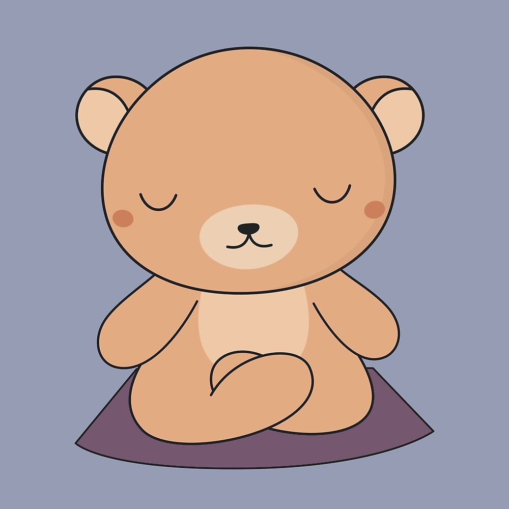 Yoga time for my kawaii brown bear by wordsberry