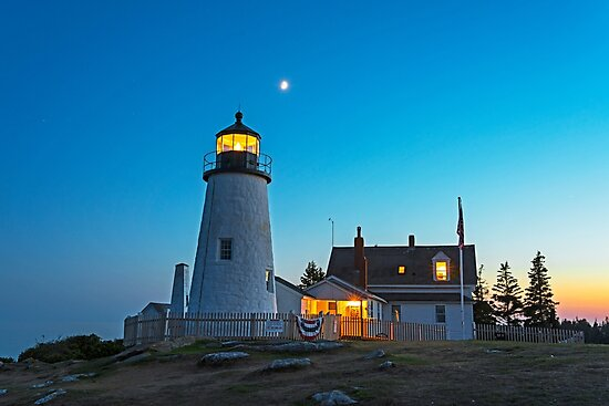 Crescent Moon over the Pemaquid Point Lighthouse Pemaquid ME by WayneOxfordPh