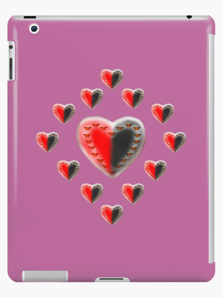 Yin Yang butterfly hearts pink by Zina Stromberg