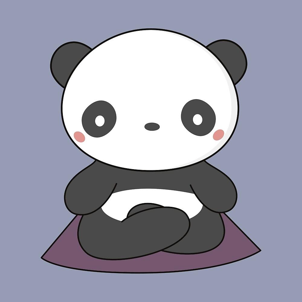 Yoga loving panda is kawaii and cute by wordsberry