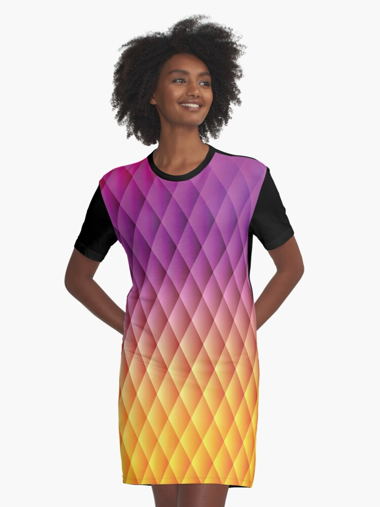 Rainbow Abstract Art Graphic T-Shirt Dress Front