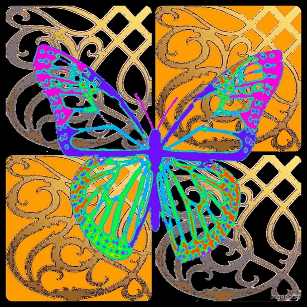 PURPLE-GOLD BUTTERFLY ABSTRACT  ART by sharlesart