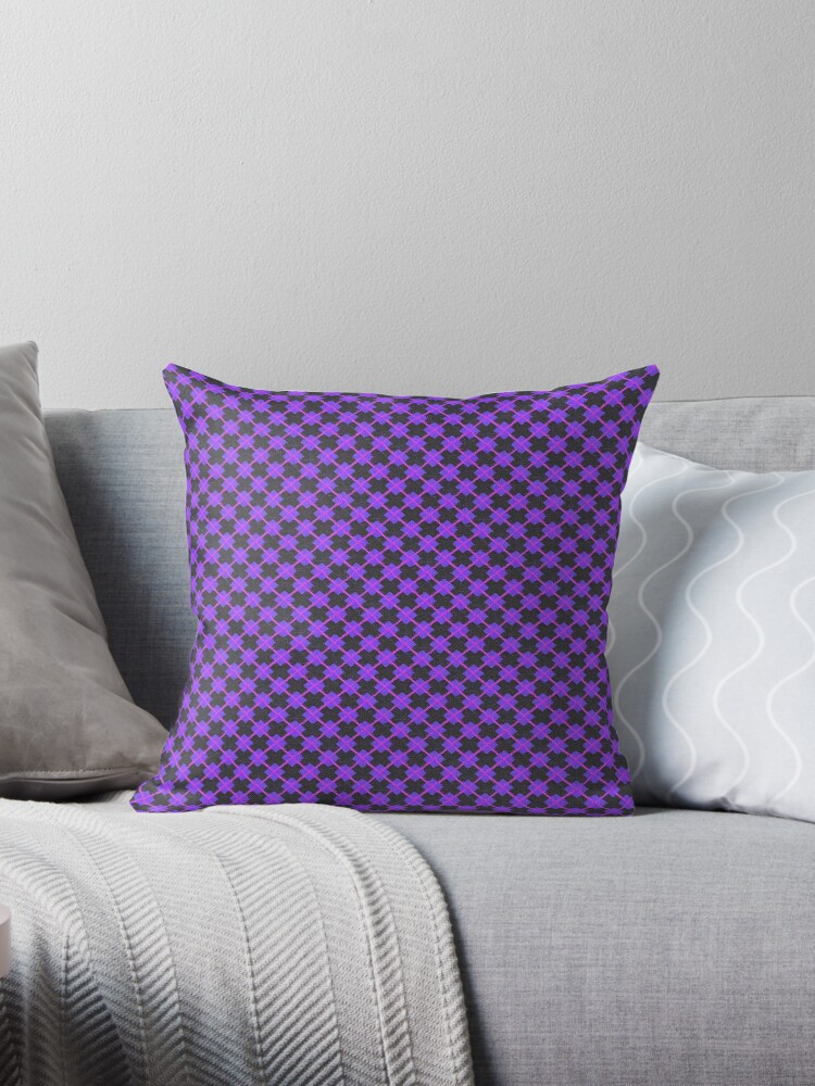 Ultra Violet, Hot Pink and Black Argyle Retro Pattern by coverinlove