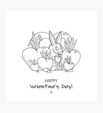 Unique hand drawn Valentine's funny bunny Photographic Print