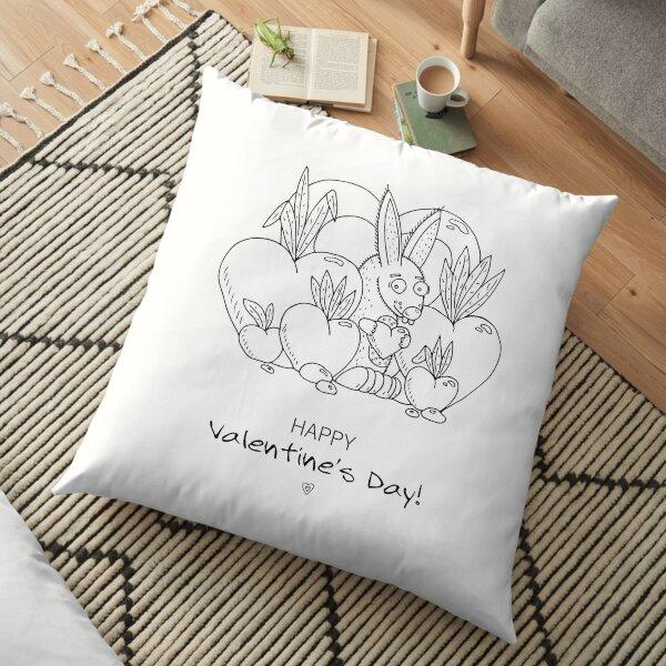 Unique hand drawn Valentine's funny bunny Floor Pillow