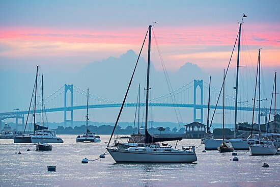 Pell Bridge Newport Harbor Newport RI Rhode Island Purple Sunset by WayneOxfordPh