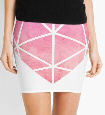 Pink Graphic Watercolor Heart Mini Skirt