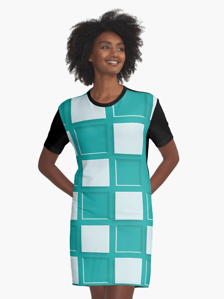 Geometric Abstract Art Graphic T-Shirt Dress Front