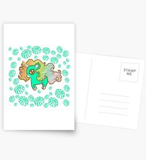 Peppermint Unicorn with Peppermint Candy on White Postcards