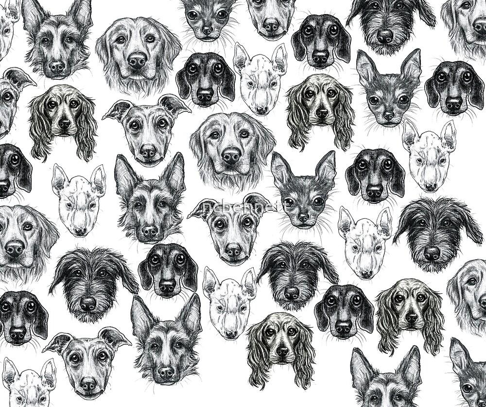 DOG PORTRAITS - PATTERN. WOOF! by ncbennett