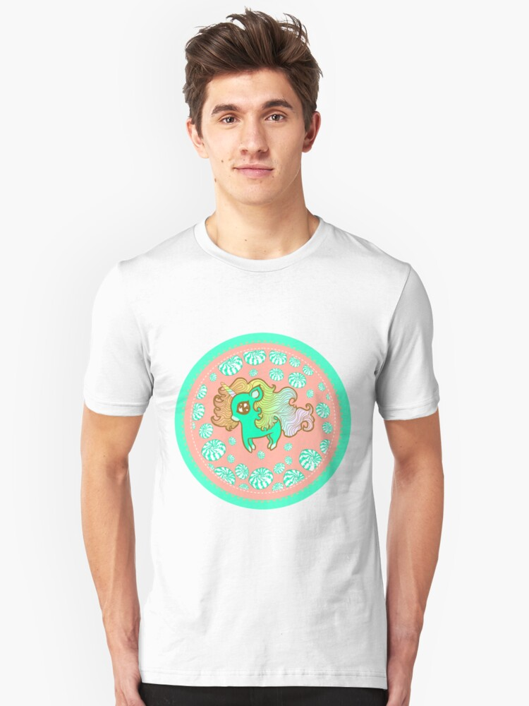 Peppermint Unicorn with Peppermint Candy on Pink Unisex T-Shirt Front