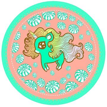 Peppermint Unicorn with Peppermint Candy on Pink by FTMLand