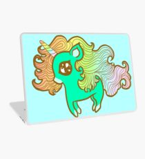 Peppermint Unicorn in Blue Laptop Skin