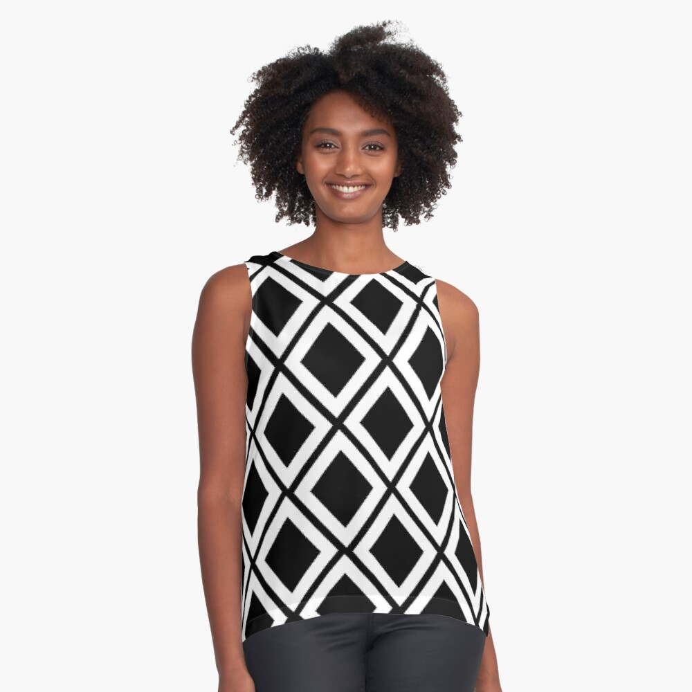 Black and White Diamond Print Contrast Tank Front