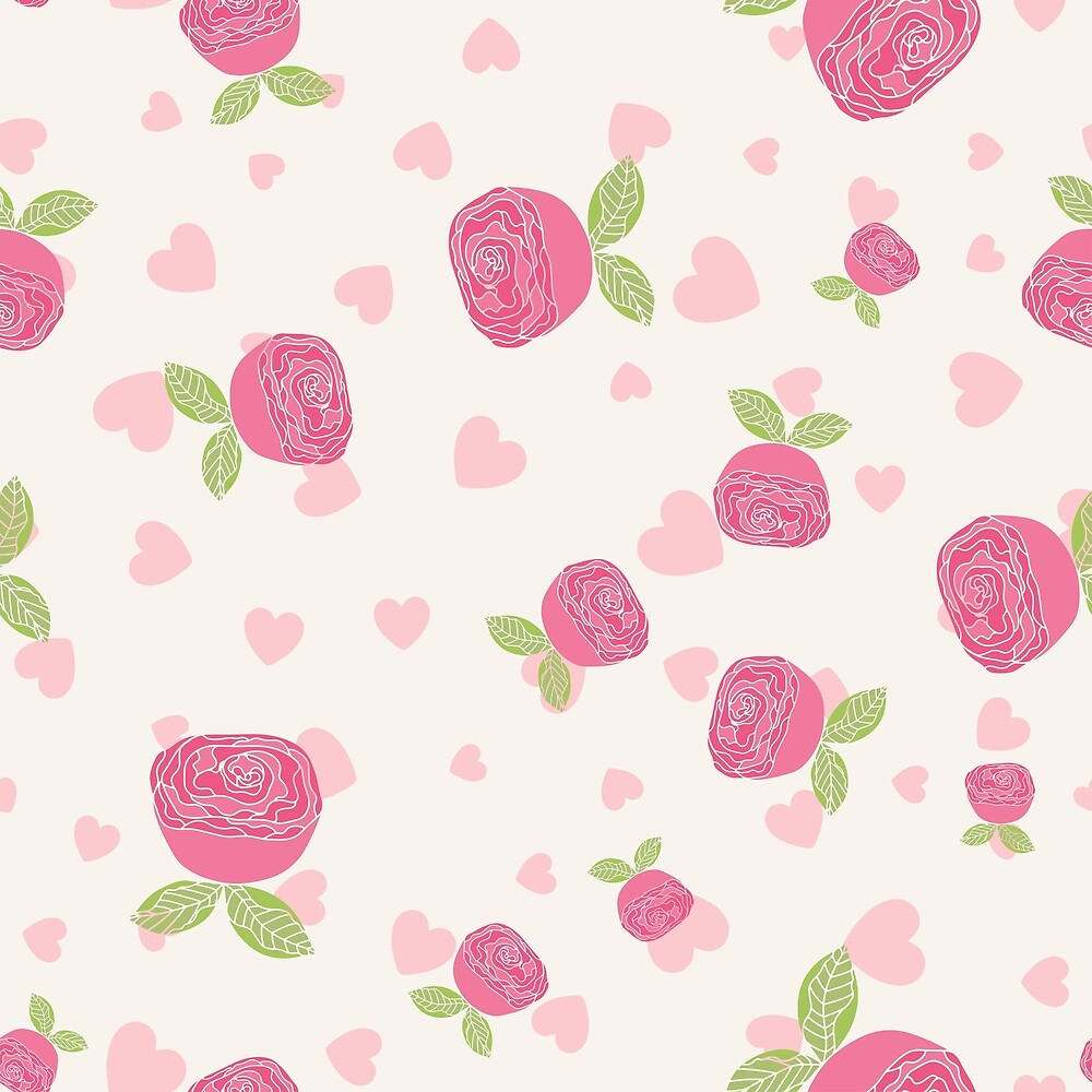 Cute pattern with hearts and flowers. by Senpo