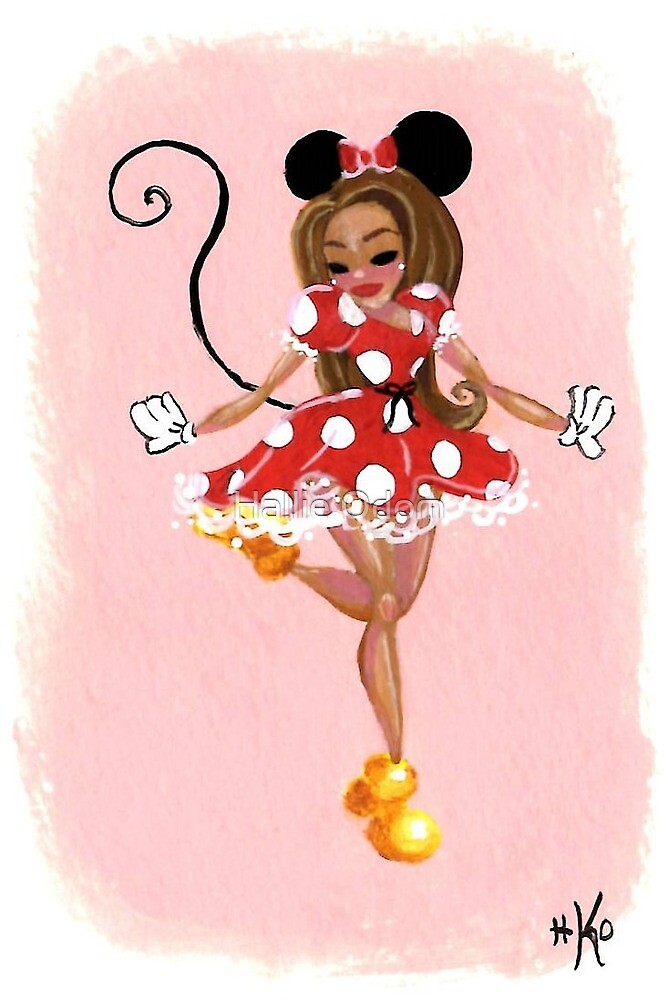 Tiny Dancer in a Red Polka Dot Dress with Mouse Ears by Hallie Odom