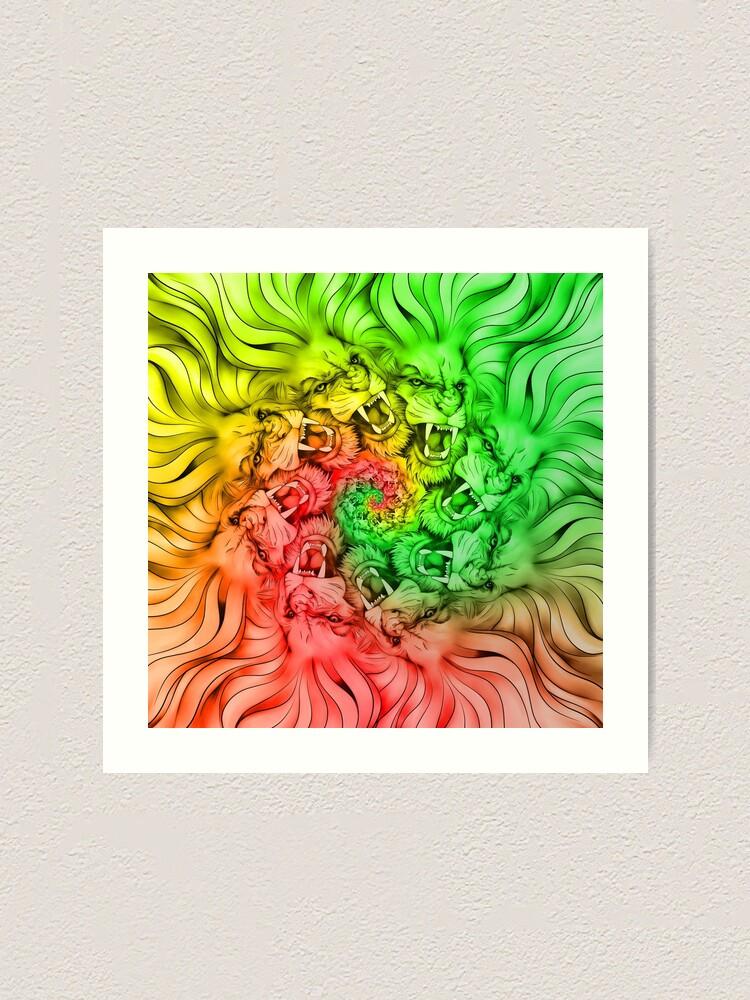 Rastafarian Jamaica Pride Of Lions Proud Design Purple Colored Lion Roar Loudly Cat Mandala Art Art Print