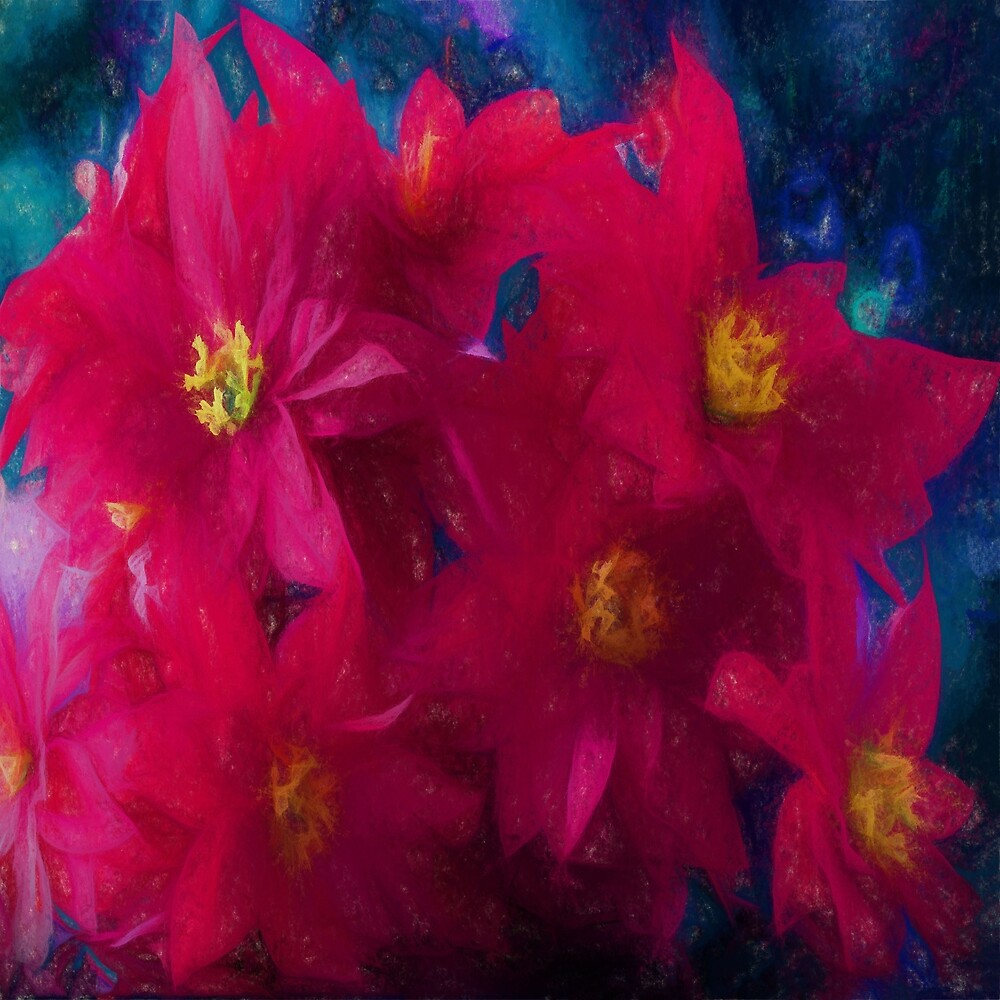 Poinsettia Abstract  by OLena Art - brand
