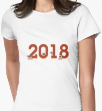 2018 Year of the Dog Chinese New Years Puppy Lover  Women's Fitted T-Shirt