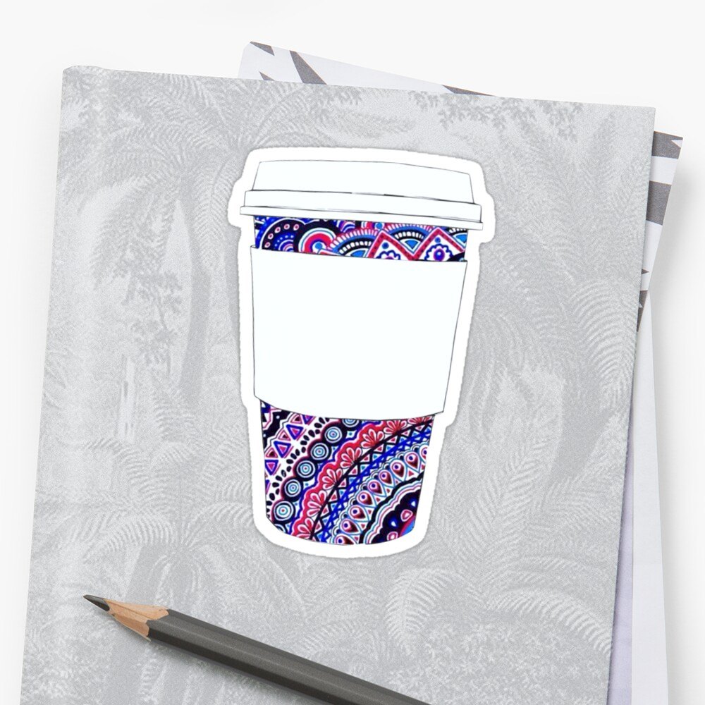 Coffee Cup with Colorful Mandala Pattern by Jackie Sullivan