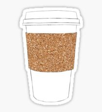 Gold Sparkly Coffee Cup Sticker
