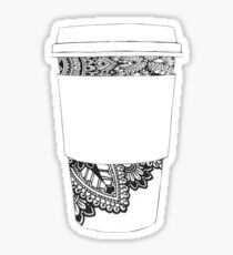 Doodle Sharpie Drawing on Coffee Cup Sticker