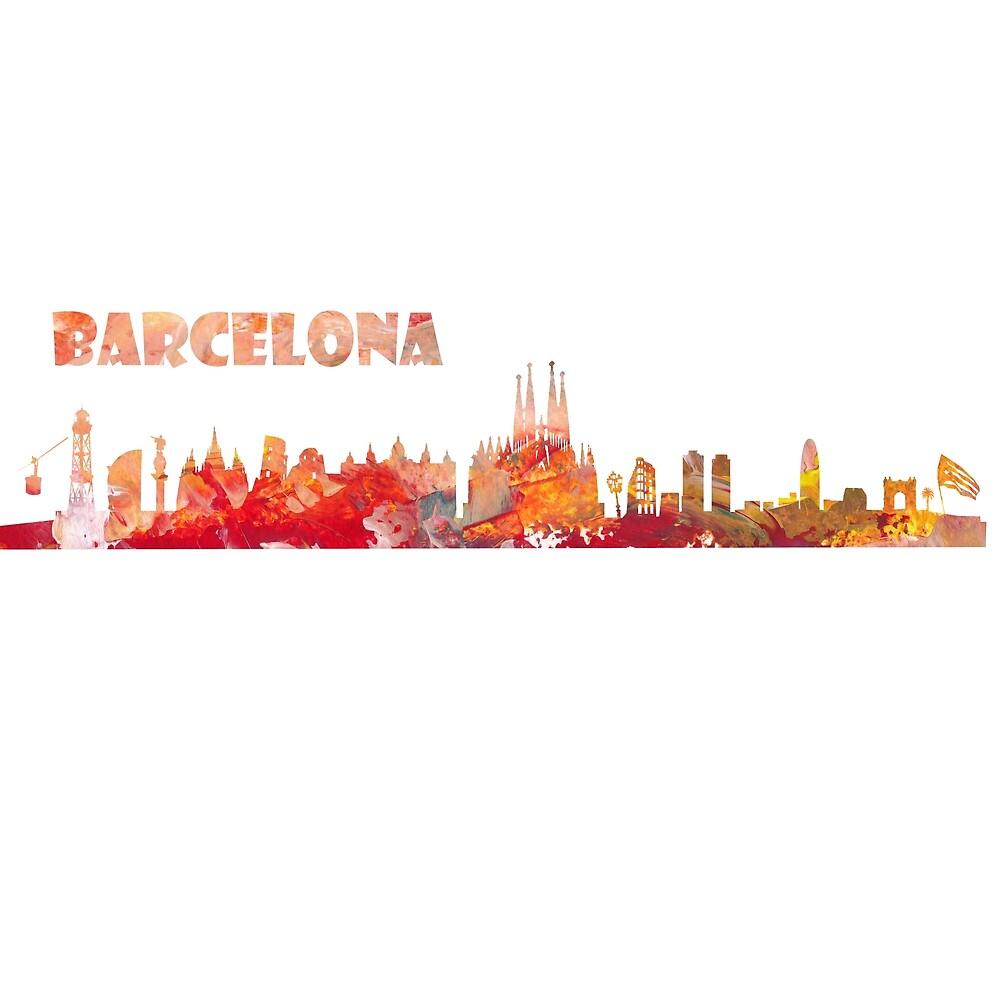 Barcelona Spain skyline silhouette by artshop77