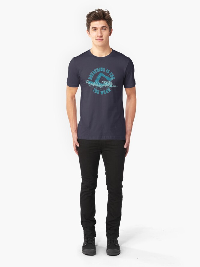 Alternative Ansicht von Breathing Is For The Weak - Funny Swimming Pun Gift Slim Fit T-Shirt