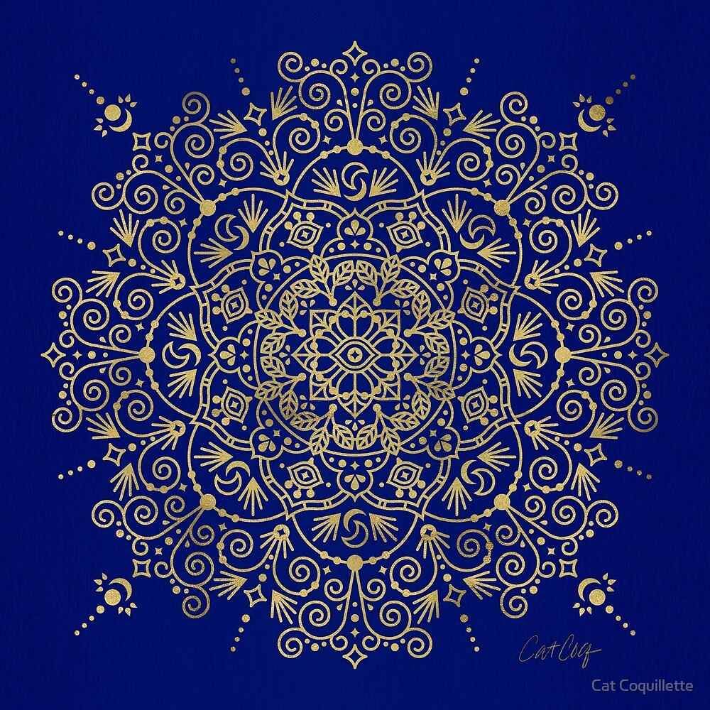 Moroccan Mandala – Gold Ink on Navy by Cat Coquillette
